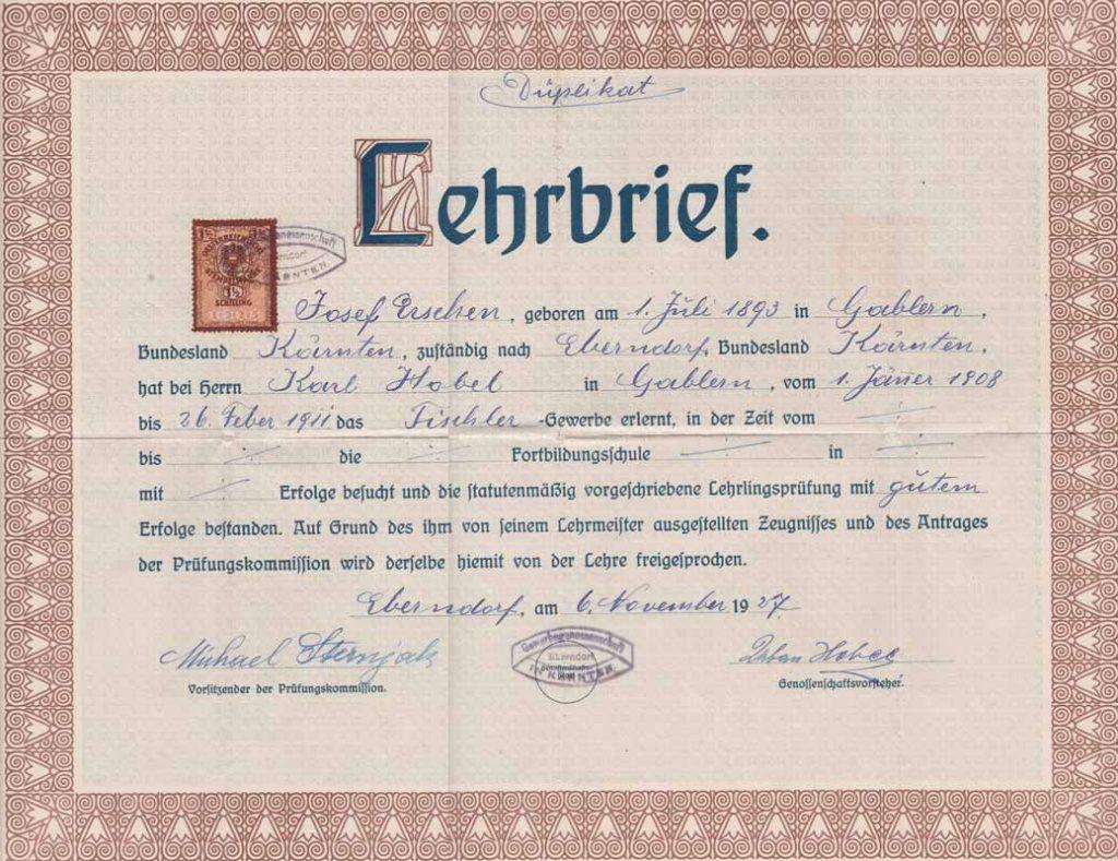 Lehrbrief Josef Erschen